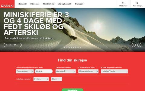Screenshot of Home Page danski.dk - Skiferie og skirejser med DANSKI - Skiferie for enhver - captured Oct. 5, 2014