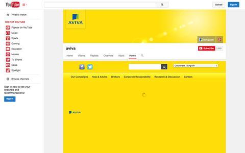 Screenshot of YouTube Page youtube.com - aviva  - YouTube - captured Oct. 23, 2014