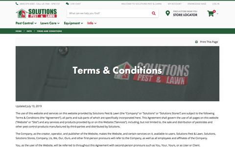Screenshot of Terms Page solutionsstores.com - Terms and Conditions - Info | Solutions Pest & Lawn - captured July 19, 2019