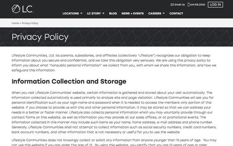 Screenshot of Privacy Page lifestylecommunities.com - LC       Privacy Policy - captured July 20, 2018