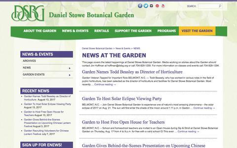 Screenshot of Press Page dsbg.org - News - Daniel Stowe Botanical Garden - captured Oct. 12, 2017