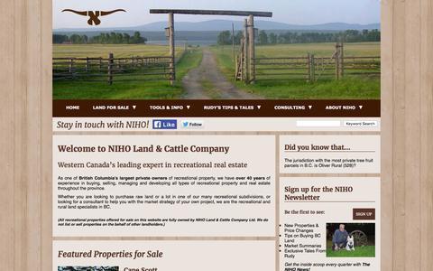 Screenshot of Home Page niho.com - Home - Welcome to NIHO Land & Cattle Company Ltd. - captured Nov. 30, 2016