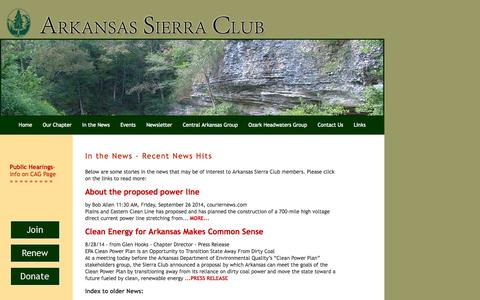 Screenshot of Press Page sierraclub.org - In the News - captured Oct. 26, 2014
