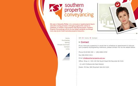 Screenshot of Contact Page southernproperty.com.au - Southern Property Conveyancing > Conveyancer in the South of Adelaide, South Australia - conveyancing services, include residential settlements, private sales, power of attorney, land division, caveats, family/marital transfers, deceased estates > Mo - captured Oct. 6, 2014