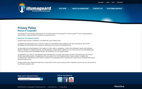 Screenshot of Privacy Page electrikusinc.com - Privacy Policy - Home lighting battery backup system - captured July 19, 2014
