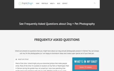 Screenshot of FAQ Page angelajacquin.com - Dog Photography Questions | Colorado Dog Photographer - captured Oct. 4, 2014