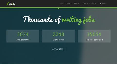 Screenshot of Jobs Page copify.com - Freelance Writing Jobs | Copywriting Jobs - Copify UK - captured Sept. 23, 2014