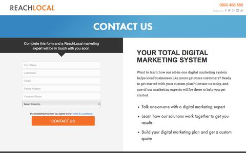 Screenshot of Landing Page reachlocal.com - ReachLocal Contact Us - captured March 16, 2016