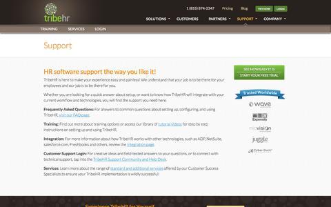 Screenshot of Support Page tribehr.com - Free Online HR Software Support | HR Resources for SME - captured Sept. 17, 2014