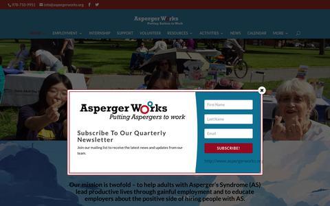 Screenshot of Home Page aspergerworks.org - Home - Asperger Works Inc. - captured Oct. 4, 2018