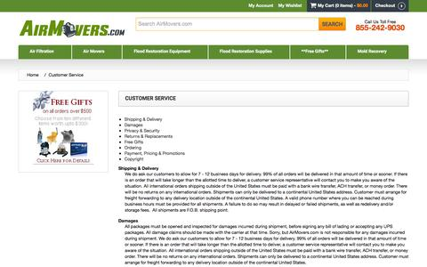 Screenshot of Support Page airmovers.com - Customer Service - captured Feb. 5, 2016
