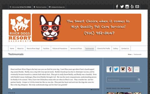 Screenshot of Testimonials Page sacriverdogs2.com - Testimonials – River Dogs Resort - captured Feb. 17, 2016