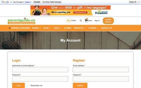 Screenshot of Login Page parentguide.ca - My Account - Parent Guide - captured Jan. 3, 2017