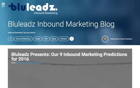 Screenshot of Blog bluleadz.com - Bluleadz Inbound Marketing Blog - captured Dec. 13, 2015