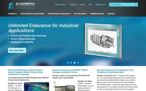 Screenshot of Home Page everspin.com - Everspin | The MRAM Company - captured May 8, 2017