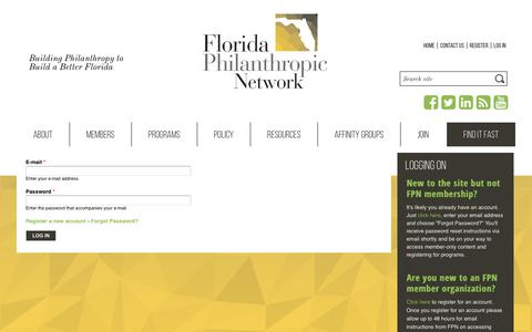 Screenshot of Login Page fpnetwork.org - Log in | Florida Philanthropic Network - captured Oct. 24, 2018