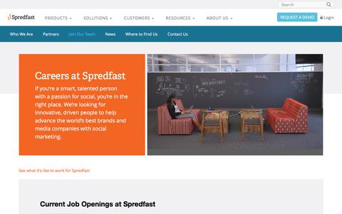 Screenshot of Jobs Page spredfast.com - Social Jobs @ Spredfast | Voted 1 of the Best in Austin - captured Oct. 30, 2015