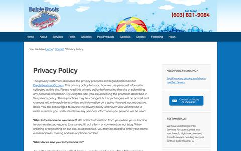 Screenshot of Privacy Page daigleservicingco.com - Privacy Policy - captured Oct. 12, 2017