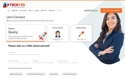 Screenshot of Contact Page techved.com - Contact UX, UI design company in India   Techved - captured Oct. 12, 2019
