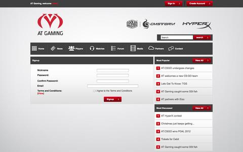 Screenshot of Signup Page atgaming.eu - Signup - AT Gaming - captured Sept. 30, 2014