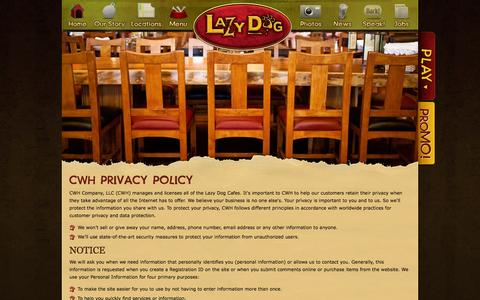 Screenshot of Privacy Page lazydogrestaurants.com - Lazy Dog Restaurant & Bar Privacy Policy - captured Sept. 24, 2014
