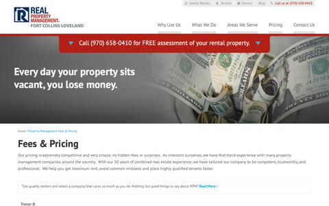 Screenshot of Pricing Page rpmfortcollins.com - Property Management Fees Fort Collins CO | Real Property Management Fort Collins Loveland - captured Oct. 18, 2018