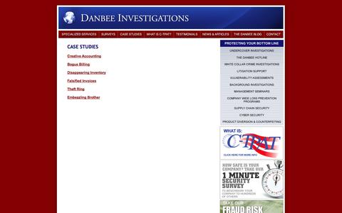 Screenshot of Case Studies Page danbeeinvestigations.com - Case Studies «  Investigative Services | Security Investigations | Security Firms - captured Sept. 30, 2014