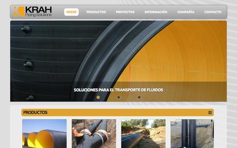 Screenshot of Home Page krah.cl - Krah Pipes - Tuberías HDPE para minería, riego, sanemiento, energía e industria - captured Oct. 6, 2014