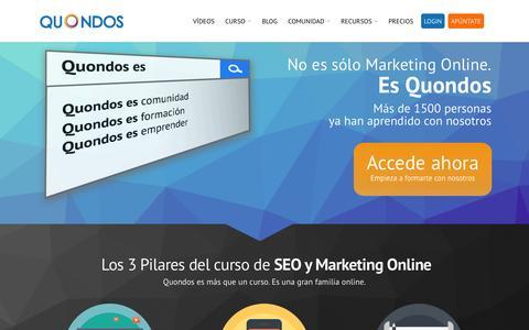 Screenshot of Home Page quondos.com - Curso de SEO y Marketing Online Paso a Paso - Quondos - captured June 16, 2015