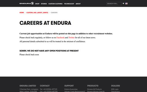 Screenshot of Jobs Page endurasport.com - Endura - Careers at Endura - captured June 27, 2017