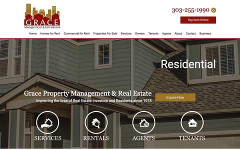 Screenshot of Home Page rentgrace.com - Denver Property Management and Property Managers, Denver Houses and Homes for Rent - captured Feb. 1, 2016