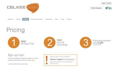 Screenshot of Pricing Page celkee.com - Pricing   Celkee Oy - captured Oct. 2, 2014