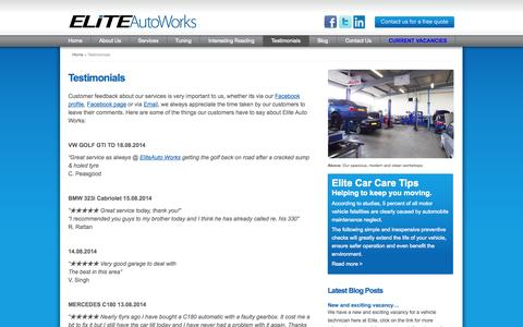 Screenshot of Testimonials Page eliteautoworks.co.uk - Testimonials - Elite Auto Works - captured Sept. 29, 2014