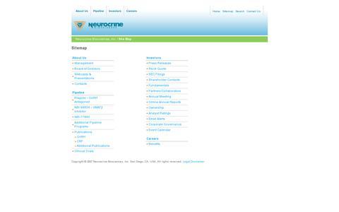 Screenshot of Site Map Page neurocrine.com - Neurocrine Biosciences, Inc. : Site Map - captured July 20, 2014