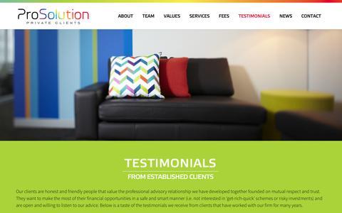 Screenshot of Testimonials Page prosolution.com.au - Testimonials   ProSolution Private Clients - captured Nov. 2, 2014