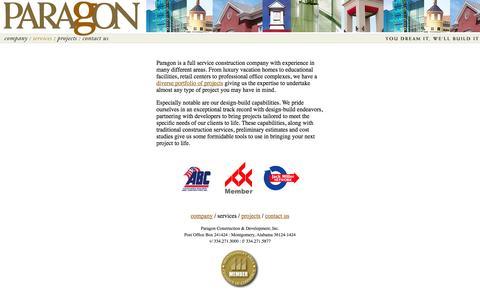 Screenshot of Services Page pcd-inc.com - Paragon Construction & Development, Inc. - captured Oct. 1, 2014
