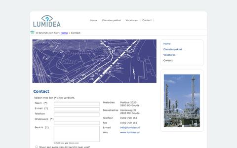 Screenshot of Contact Page lumidea.nl - Lumidea Engineering - Contact - captured Oct. 3, 2014