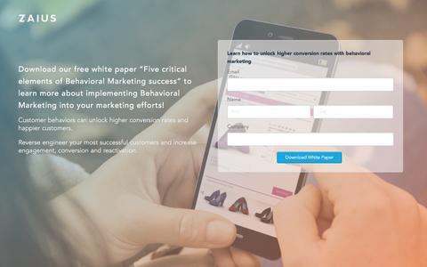 Screenshot of Landing Page zaius.com - Behavioral Targeting | Behavioral Marketing | ZAIUS - captured Dec. 17, 2015