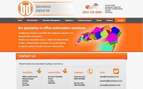 Screenshot of Contact Page bureautech.co.uk - Bureautech Digital Ltd | Contact Us - captured Oct. 5, 2014