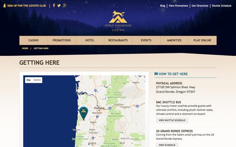 Screenshot of Maps & Directions Page spiritmountain.com - Map & Directions | Grand Ronde, OR   | Spirit Mountain Casino - captured July 29, 2016