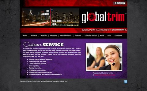 Screenshot of Support Page globaltrim.com - Customer Service | Global Trim - captured Sept. 30, 2014