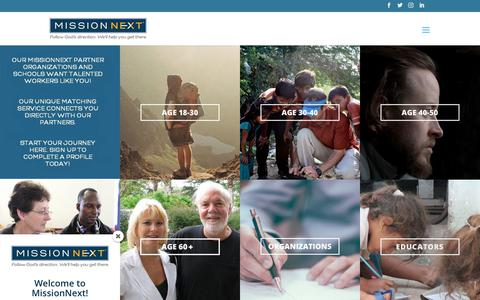 Screenshot of Home Page missionnext.org - MissionNext | Follow God's Direction. We'll Help You Get There. - captured Sept. 30, 2018