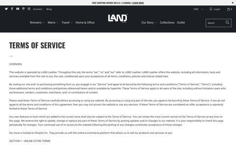 Screenshot of Terms Page landleather.com - Terms of Service - LAND Leather - captured Sept. 25, 2018