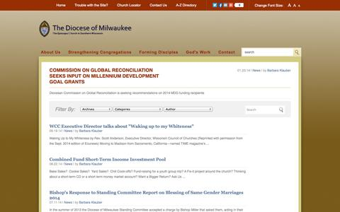 Screenshot of Press Page diomil.org - Episcopal Diocese of Milwaukee › Articles - captured Oct. 2, 2014
