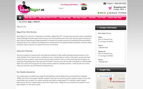 Screenshot of About Page bean-bags-r-us.com - About Us | Bean Bags R Us - captured Oct. 5, 2014