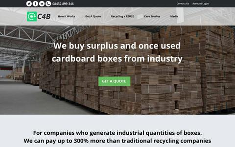 Screenshot of Home Page cash4boxes.co.uk - C4B | We buy surplus and once used cardboard boxes - captured July 16, 2018
