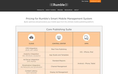 Screenshot of Pricing Page rumble.me - Pricing | Rumble - The Smart Mobile Management System - captured Jan. 17, 2016
