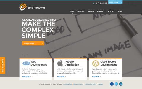 Screenshot of Home Page eliteinfoworld.com - PHP Web, Mobile Development & Design Company India UK, USA, UAE - captured Sept. 19, 2014