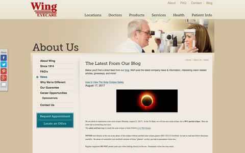 Screenshot of Press Page wingeyecare.com - Wing Eyecare News & Information - captured Sept. 21, 2018