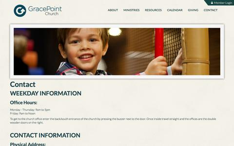 Screenshot of Contact Page gracepointcoppell.org - GracePoint Coppell: Contact - captured Feb. 10, 2016